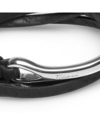 Miansai   Black Leather Half Cuff-silver Anchor Bracelet for Men   Lyst