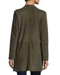 Eileen Fisher | Green Fisher Project Draped Suede Jacket | Lyst