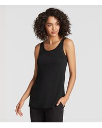 Eileen Fisher - Black Stretch Silk Jersey System Tunic - Lyst