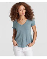 Eileen Fisher - Blue Organic Cotton Jersey Slub Shirttail Tee - Lyst