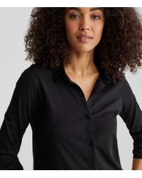 Eileen Fisher - Black Organic Cotton Jersey Shirt - Lyst