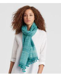 Eileen Fisher - Blue Handwoven Shibori Organic Cotton Silk Scarf - Lyst