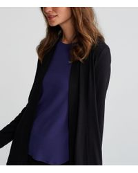 Eileen Fisher - Black Viscose Jersey Long Kimono Jacket - Lyst