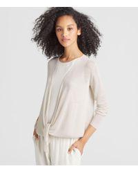 Eileen Fisher - Multicolor Exclusive Organic Linen Crepe Tie-front Cardigan - Lyst