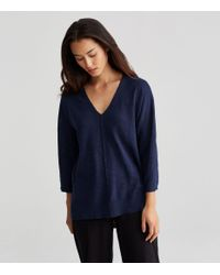 Eileen Fisher - Blue Plus Size Organic Linen Cotton Slub V-neck Top - Lyst