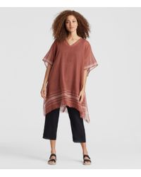 Eileen Fisher - Red Exclusive Handwoven Organic Cotton Poncho - Lyst