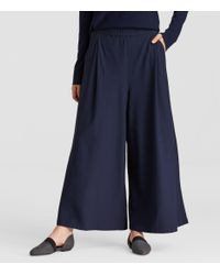 Eileen Fisher - Blue Lightweight Washable Stretch Crepe Wide Pant - Lyst