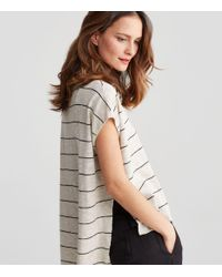 Eileen Fisher Multicolor Organic Linen Cotton Slub Bateau Neck Box-top