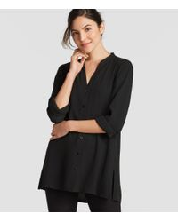 Eileen Fisher - Black Silk Georgette Crepe Stand Collar Shirt - Lyst