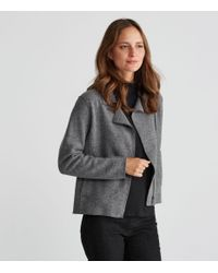 Eileen Fisher - Gray Boiled Wool Moto Jacket - Lyst