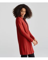 Eileen Fisher - Red Organic Cotton Silk Long Cardigan - Lyst