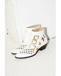 Chloé White Susanna Cut Out Ankle Boots