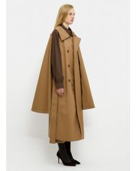 Lemaire Brown Double-breasted Cape Trench Coat