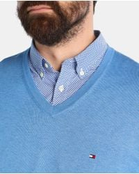 Tommy Hilfiger - Big And Tall Blue V-neck Sweater for Men - Lyst