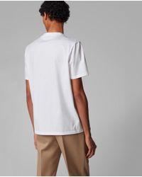 Camiseta De Algodón Mercerizado De Hombre Blanca De Manga Corta BOSS by Hugo Boss de hombre de color White