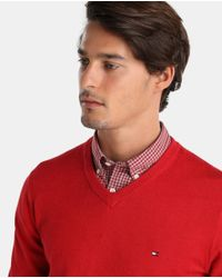 Tommy Hilfiger - Red V-neck Sweater for Men - Lyst