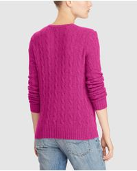 Polo Ralph Lauren - Pink V-neck Cable Stitch Sweater - Lyst