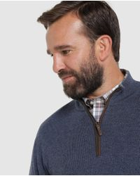 Mirto Big And Tall Blue Sweater With A Polo Neck for men