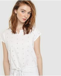 GREEN COAST White Wo Cutwork T-shirt With A Knot