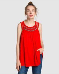 Vero Moda - Red T-shirt With Plaiting And Rhinestones - Lyst
