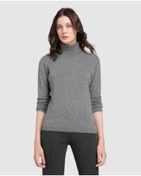 James Perse | Gray Grey Sweater With A Polo Neck | Lyst