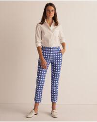 Pantalón Recto De Mujer Con Cuadros Weekend by Maxmara de color Blue