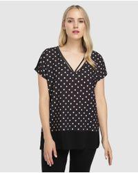 Camiseta De Mujer Talla Grande Con Estampado De Topos Y Manga Corta Couchel de color Black
