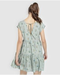 GREEN COAST Green Floral Dress With Low Back Neckline