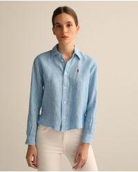 Camisa De Mujer De Lino Polo Ralph Lauren de color Blue