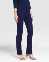Lauren by Ralph Lauren - Navy Blue Straight Trousers - Lyst