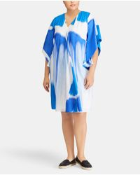 Denim & Supply Ralph Lauren - Blue Plus Size Two-tone Printed Dress - Lyst