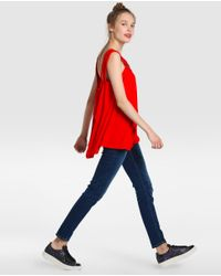 Vero Moda | Red T-shirt With Plaiting And Rhinestones | Lyst
