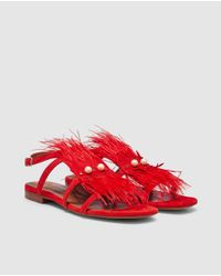 Pedro Miralles - Red Suede Flat Sandals With Feathers - Lyst