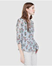 Blusa De Mujer De Flores Con Péplum Pepe Jeans de color Blue