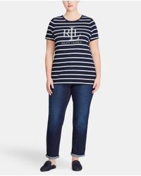 Denim & Supply Ralph Lauren - Blue Plus Size Striped T-shirt With Front Decoration - Lyst