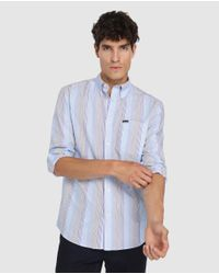 Camisa De Hombre Regular De Rayas Azul Façonnable de hombre de color Blue