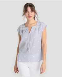 Indi & Cold Blue Short-sleeved Embroidered Blouse