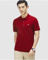 Lacoste - Red Short Sleeve Piqué Polo Shirt for Men - Lyst
