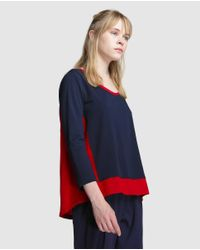 Tommy Hilfiger - Blue Combined Fabric T-shirt - Lyst