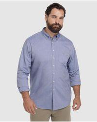 Camisa Oxford De Hombre Regular Lisa Azul Tallas Grandes Gant de hombre de color Blue
