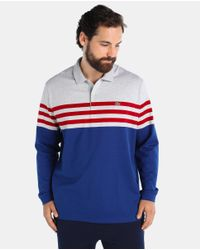 ea4bf5cb5d Lacoste Big And Tall Striped Long Sleeve Polo Shirt in Blue for Men ...