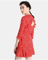 GREEN COAST - Red Floral Dress With Frills - Lyst
