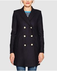 Esprit | Blue Long Coat With Double Buttons | Lyst