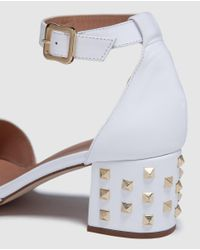 Pedro Miralles - White Leather High-heel Sandals With Studs - Lyst
