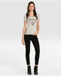 Guess | Gray T-shirt With Logo And Rhinestones | Lyst