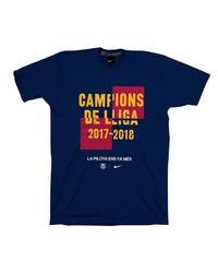 Nike - Blue Fc Barcelona La Liga Champion 2017-2018 T-shirt. for Men - Lyst