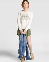 GREEN COAST - Natural Long-sleeve Sweater With A Front Print - Lyst