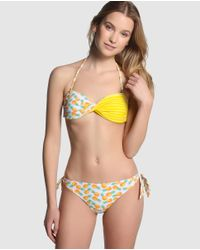 Green Coast - Yellow Three-piece Bikini With A Padded Bandeau Top And Two Normal-cut Bottoms - Lyst