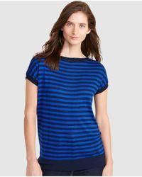 Lauren by Ralph Lauren | Blue Short Sleeve Stripe Print Sweater | Lyst