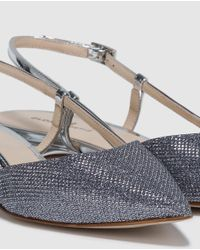 Gloria Ortiz - Metallic Silver Slingback Flat Shoes With A Shiny Effect - Lyst